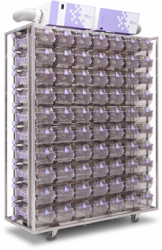 Rack mobil ventilat depozitare custi; atmosfera pozitiva/negativa